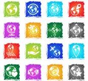 Globes icon set Stock Photos