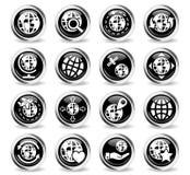 Globes icon set Stock Images