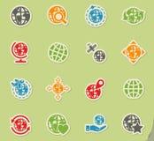 Globes icon set Stock Photography