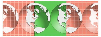Globes illustration. American globe design which would make a useful logo Stock Illustration