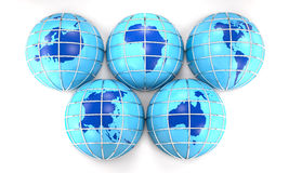Globes with the image of the Earth's continents. (3D rendering). Stock Photography