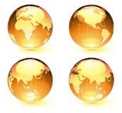 Globes lustrés de carte de la terre Image stock