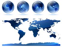 Globes and map Royalty Free Stock Photography