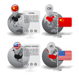 Globes with Map marker and state flags of China and United State. Gray globes with designation of China and United States location, with map markers and state Stock Photos