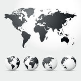 Globes and map of world Stock Photo