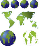 Globes and maps. Illustrations maps and globes for mdiffernet positions showing different countries Royalty Free Stock Photography