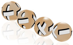 Globes of math symbols. 4 globes of mathematical symbols: Addition, division, multiplication and subtraction Stock Photo
