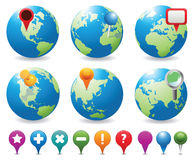 Globes&Navigation Icons. Navigation icons for pinpointing locations on a globe Stock Image