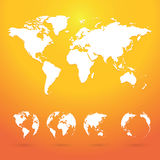 Globes planet earth with all continents Royalty Free Stock Photos