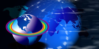 Globes with a rainbow. A globe illustration with a rainbow of rings Royalty Free Stock Photos
