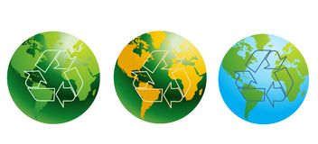 Globes with recycling signs Royalty Free Stock Photos