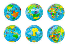 Globes set. Isolated on white background Stock Photography