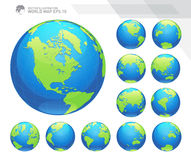 Globes showing earth with all continents. Digital world globe vector. Dotted world map vector. Royalty Free Stock Images