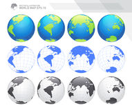 Globes showing earth with all continents. Digital world globe vector. Dotted world map vector. Stock Image