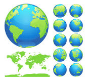 Globes showing earth with all continents. Digital world globe vector. Dotted world map vector. Stock Photo