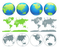 Globes showing earth with all continents. Digital world globe vector. Dotted world map vector. Royalty Free Stock Photo