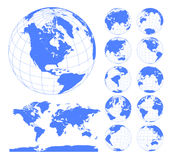 Globes showing earth with all continents. Digital world globe vector. Dotted world map vector. 