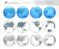 Globes showing earth with all continents. Dotted world globe vector. Royalty Free Stock Photos