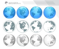 Globes showing earth with all continents. Dotted world globe vector. Royalty Free Stock Photo
