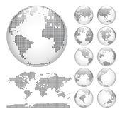Globes showing earth with all continents. Dotted world globe vector. Stock Photos