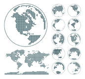 Globes showing earth with all continents. Dotted world globe vector. Stock Images