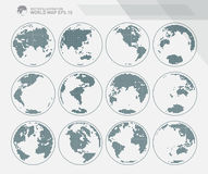 Globes showing earth with all continents. Dotted world globe vector. Stock Image