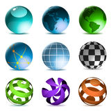 Globes and spheres. Icons set isolated on white background Royalty Free Stock Image