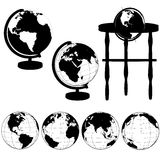 Globes Stands Silhouettes Set. Silhouettes of Globes on Stands, and a set of various globe views: Eastern Hemisphere; Asia; Atlantic; Pacific vector illustration