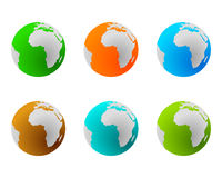 Globes in various colours Royalty Free Stock Image