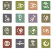 Globes icon set. Globes vector icons for web and user interface design Vector Illustration