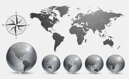 Globes with world map stock illustration