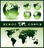 Globes with World Map. Vector illustration of globe in five different positions and conceptual background with world map Royalty Free Stock Photography