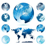 Globes and World Map. Vector illustration representing world map and diferent position of four colorful globes Royalty Free Stock Images