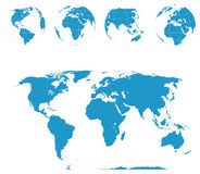 Globes and World Map - Vector Stock Image