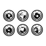 Globes with wreath. Earth globe stamps with wreath Stock Photo