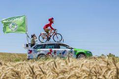 The Globetrotter Skoda - Tour de France 2016. Saint-Quentin-Fallavier, France - July 16, 2016: The globetrotter mascot of Skoda during the passing of Publicity Stock Photos