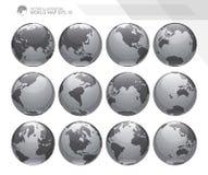Globi che mostrano terra con tutti i continenti Vettore del globo del mondo di Digital Vettore punteggiato della mappa di mondo Immagine Stock Libera da Diritti