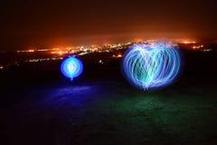 Globi e luci della città Immagine Stock