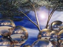 Globi ed albero d'argento Immagini Stock Libere da Diritti