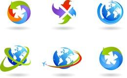 Globi ed insieme dell'icona di affari globali Fotografie Stock Libere da Diritti