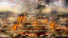 Globle che si scalda problema, città antica su fuoco Fotografia Stock Libera da Diritti