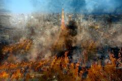 Globle che si scalda problema, città su fuoco Fotografia Stock Libera da Diritti