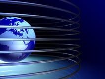 globo 3D com anéis metálicos ilustração do vetor