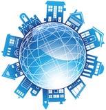 globo 3D com edifícios circunvizinhos Fotografia de Stock Royalty Free