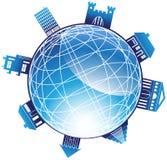 globo 3D con circondare le grandi costruzioni Fotografie Stock