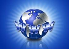 globo 3d con il testo di WWW Fotografia Stock Libera da Diritti