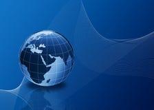 globo 3d no azul com linhas Imagens de Stock