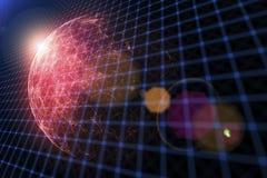 Globo abstrato da rede de Digitas com o alargamento da luz Fotos de Stock