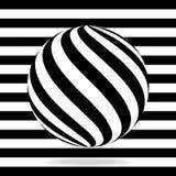 Globo abstrato das listras preto e branco Imagens de Stock Royalty Free