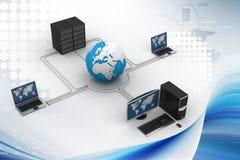 Globo alrededor con el servidor y el ordenador del ordenador portátil Foto de archivo libre de regalías